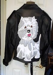 West Highland Terrier Hand Made  Biker Style Leather Jacket