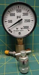 Us Gauge Co. 2 1/2 3000 Psi Lower 1/4 Npt Connection With 3 Way Adapter