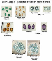Assorted Brazilian Gems Bundle Emeralds Imperial Topaz Aquamarine etc.