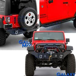 07-18 JK Wrangler Black Front+Rear Bumper+Side Slider Step Armor Rocker Guards