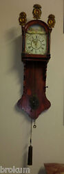 Early Friesland Dutch Wall Case Clock Weights Handpainted Face Alarm Antique