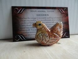 *CHICKEN* Carved Stone Figurine Totem 1 FREE Bonus LOOK Wiccan Pagan Gift