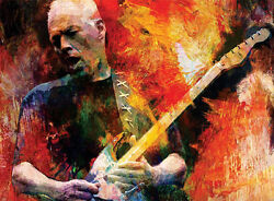 Pink Floyd David Gilmour Painting Giclee Canvas 16x20 Guitar Rock Music