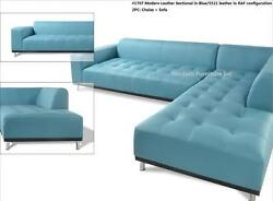 Modern Contemporary Design Blue Leather Sectional Sofa 3 Pieces Set 1707