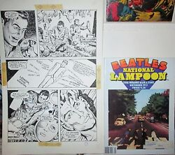 The BEATLES Ernie Chan ORIGINAL ART National Lampoon `77 Mag Included PencilInk