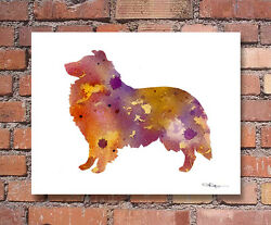 Sheltie Abstract Watercolor Painting Art Print By Artist Dj Rogers
