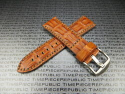 22mm Gold Brown Alligator Hornback Strap Leather Watch Band For Pam Xa1