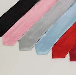 Necktie Casual Slim Plain Men#x27;s Solid Skinny tie for Party Formal and Wedding $3.99