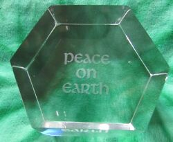 Baccarat Glass/crystal Paper Weight With Words Peace On Earth Made In France