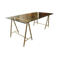 Glass And Gold Iron Faux Bamboo Dining Table/desk