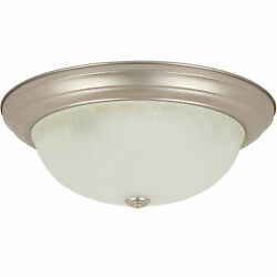 15 Dome Ceiling Fixture Brushed Nickel Alabaster Glass Free Shipping From Us