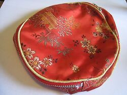 Red Silk Handbag Or Make-Up Bag With Multi-Colored Embroidery Floral Design