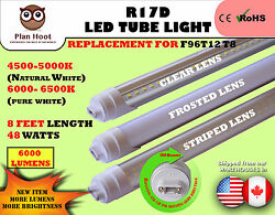 R17d 8ft 48w F96t12 T8 Replacement Led Tube Light Milky Striped Clear Lens Bulb