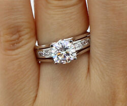 2.0 Ct 14k Real White Gold Trellis Round Engagement Promise 2 Ring Matching Band