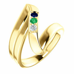 14k Solid Gold Motherand039s Ring 1 To 5 Birthstones Childrenand039s Names Engraved