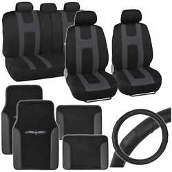 Rome Sport Seat Covers, Tribal Car Floor Mats And Steering Wheel Cover - Charcoal