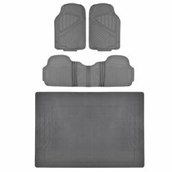 Tough Weather 4pc Floor Mats And Liner - Heavy Duty Rubber Gray Motortrend
