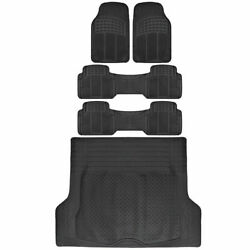 5 PC Rubber Floor Mats amp; Trunk Liner Combo for 3 Row Van SUV All Weather Black