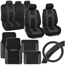 Charcoal Rome Sport Seat Cover, 2 Tone Car Floor Mat And Ergo Steering Wheel Cover