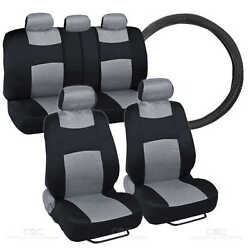 1 Pc Gray Steering Wheel Cover - 9 Pc Sporty Spacer Mesh Gray Cloth Seat Cover