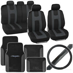 Complete Interior Set Seat Cover, Mat And Steering Wheel Cover - Black / Charcoal