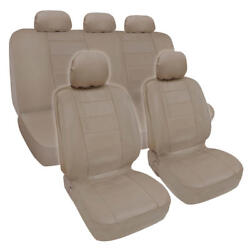 Pu Synthetic Leather Beige Car Seat Cover Genuine Leather Feel Front And Rear Set