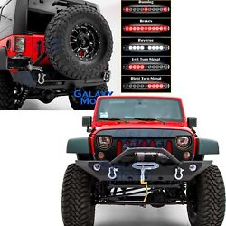 Front+rear Bumper+tire Carrier+2x 3rd Brake Taillight For 07-18 Jeep Jk Wrangler