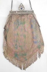 Antique Whiting & Davis Mesh Purse Sterling Silver Lining Mirror Sapphire Clasp