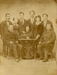 Cdv Photo Of Family With Sewing Machine, Suspension Bridge, N.y.