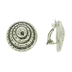 Brand New Vintage Inspired Large Antique Silver Crafted Round Clip-on Earrings