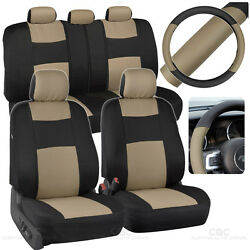 Beige Black Car Seat Covers W/ Split Bench And Pu Perforated Steering Wheel Cover