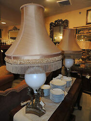 Impressive Pair Large Cherub And Opaque Glass Table Lamps Antique Ca. 1880