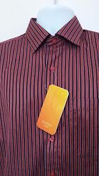 Peter England Festive Collection Red Maroon Stripes Casual Shirt Large 40 Cm Cvc
