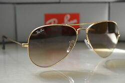RAY BAN AVIATOR Sunglasses RB3025 58 14 Light BROWN GRADIENT Lens GOLD Frame $96.95