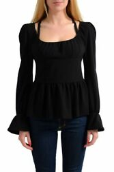 Tom Ford Wool Black Long Sleeves Women's Top Blouse Size XS S M L