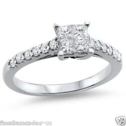 0.70ct Princess And Round Cut Diamonds Engagement Ring In 9k White And Yellow Gold