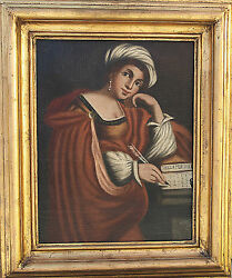 Old Master 18 Century Lady Portrait Antique Oil Painting