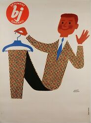 Original Vintage French Poster Advertising Bj Clothing By Herve Morvan 50-60's
