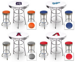 Mlb Bar Table Set White And Chrome Finish Team Logo Decal Man Cave Or Game Room