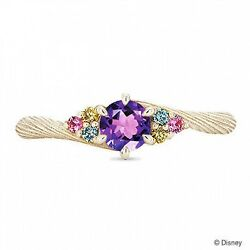 New Disney Rapunzel Yellow Gold Ring Side Stones Limited K.uno Jewerly Japan 61c