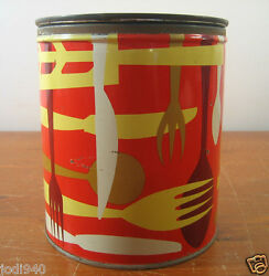 Procter Gamble Cylindrical Tin Metal Fluffo Golden Fresh Shortening Container