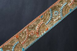 Jasdee Vintage Border Trim 2 1 2quot;Width HandWork Sequin amp; Embroidery Style A1253C