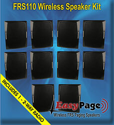 Easypage Wireless Frs Band Paging Speaker Kit - 10 Spkrs And 1 Free 2-way Radio