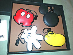 Disney X Coach Leather Mickey Mouse Set Of 4 Hangtag Charms Keychain Collectible
