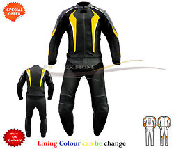 Two Piece Motorbike Suit Leather Jacket Leather Trouser Zip Together All Sizes
