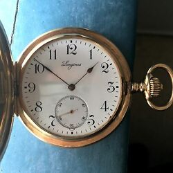 Longines Antique Pocket Watch 14k Yellow Solid Gold 1910 Grand Prix - 51mm 25s