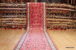 17 FT. LONG fine quality handmade hand knotted Rose color ORIENTAL hall runner