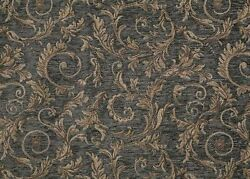 Chenille Upholstery Saxxon Royalty blue floral Leaf Drapery home fabric 54quot; Wide