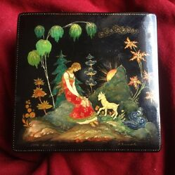 Antique Dated 1974 Russian Palekh Handpainted Wood Box Girl Sun Goat Signed Gold