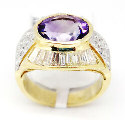 Sophisticated 14k Yellow Gold 4.64tcw Amethyst W/ Diamonds Dome Ring Size 6
